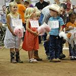 Children line up during the Stick Horse Race.